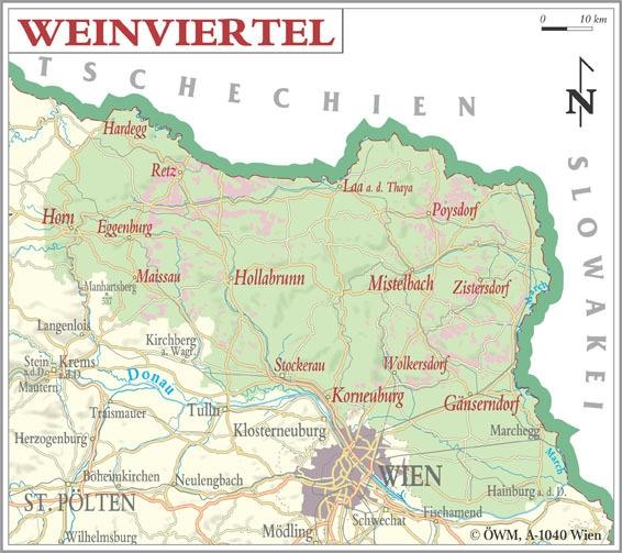 Weinanbauflaechenkarte Weinviertel -  Quelle: Österreich Wein Marketing GmbH, Wien