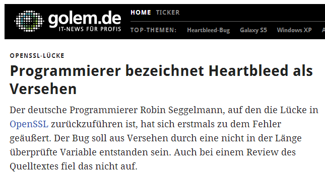 Golem IT-News-Portal zum Programmierer von Heartbleed