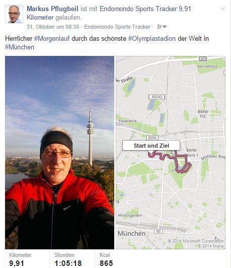 Endomondo: die Sport-App bindet sich auch gut in Facebook ein