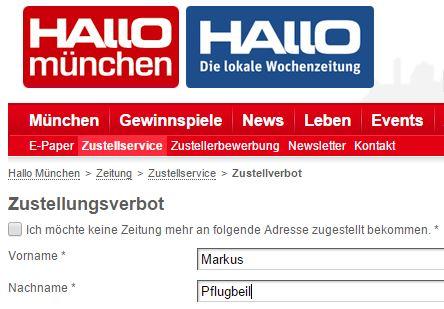 Auf der Webseite von Hallo München: Zustellverbot aussprechen. Lobenswert. Ob es funktioniert?