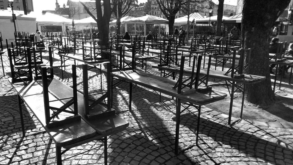 Wegen Karfreitag geschlossen: Der Biergarten am Viktualienmarkt.