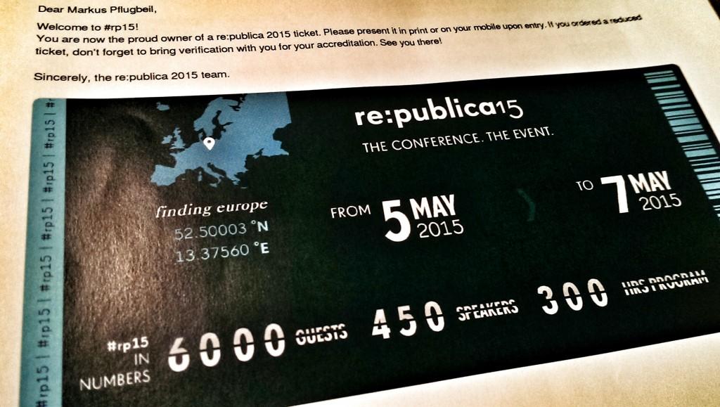 re:publica15 - meine Eintrittskarte