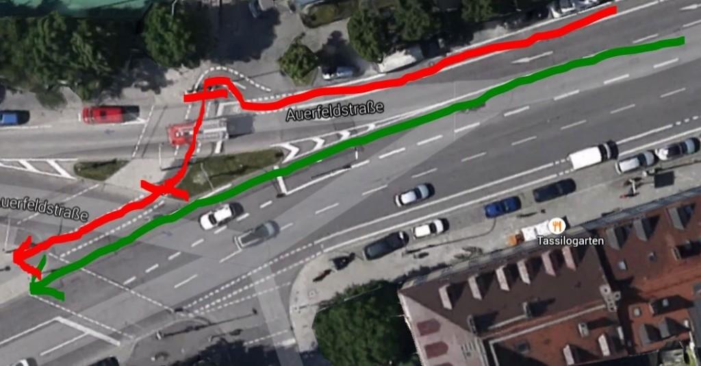 Street Art in München: Rot: so will der Straßenmaler, dass Radler fahren. Zwei Stopps, obwohl man eigentlich nur geradeaus will (grün).