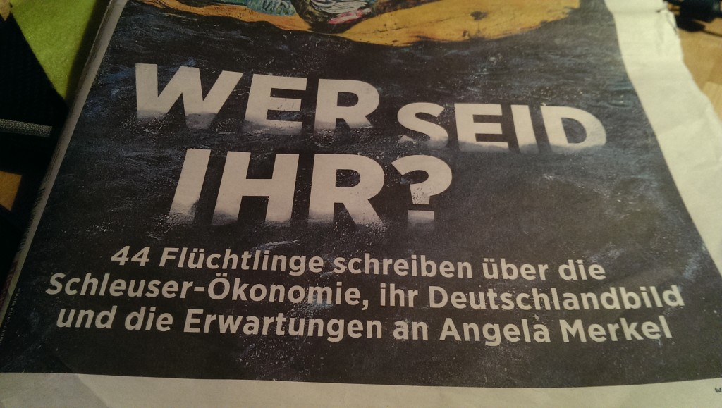 Im Handelsblatt, Nr. 185/25.9.2015, schreiben 40 Flüchtlinge. Und viele andere interessante Geschichten zu dem Themenkomplex.
