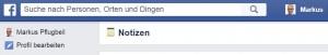 Facebook Notes gibt sich ebenfalls spartanisch und muss scheinbar über facebook/notes aufgerufen werden.
