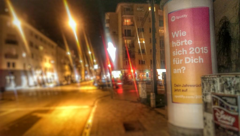 Spotify Werbung zum Jahresende 2015 in München.