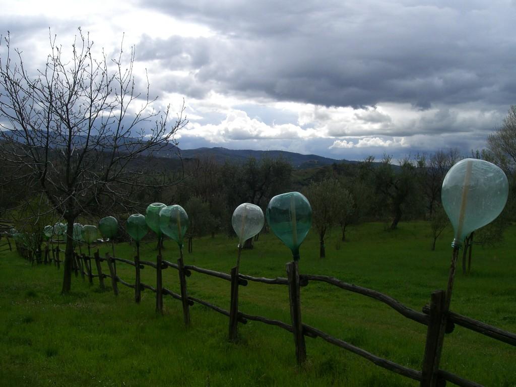 Eingebettet in die toskanische Landschaft, nicht klar, ob Kunst oder Alltag am Zaun.