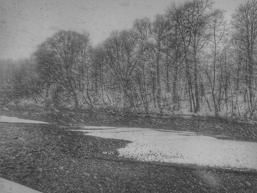 In München kann es auch gscheid schnein., richtig starker Schneefall.