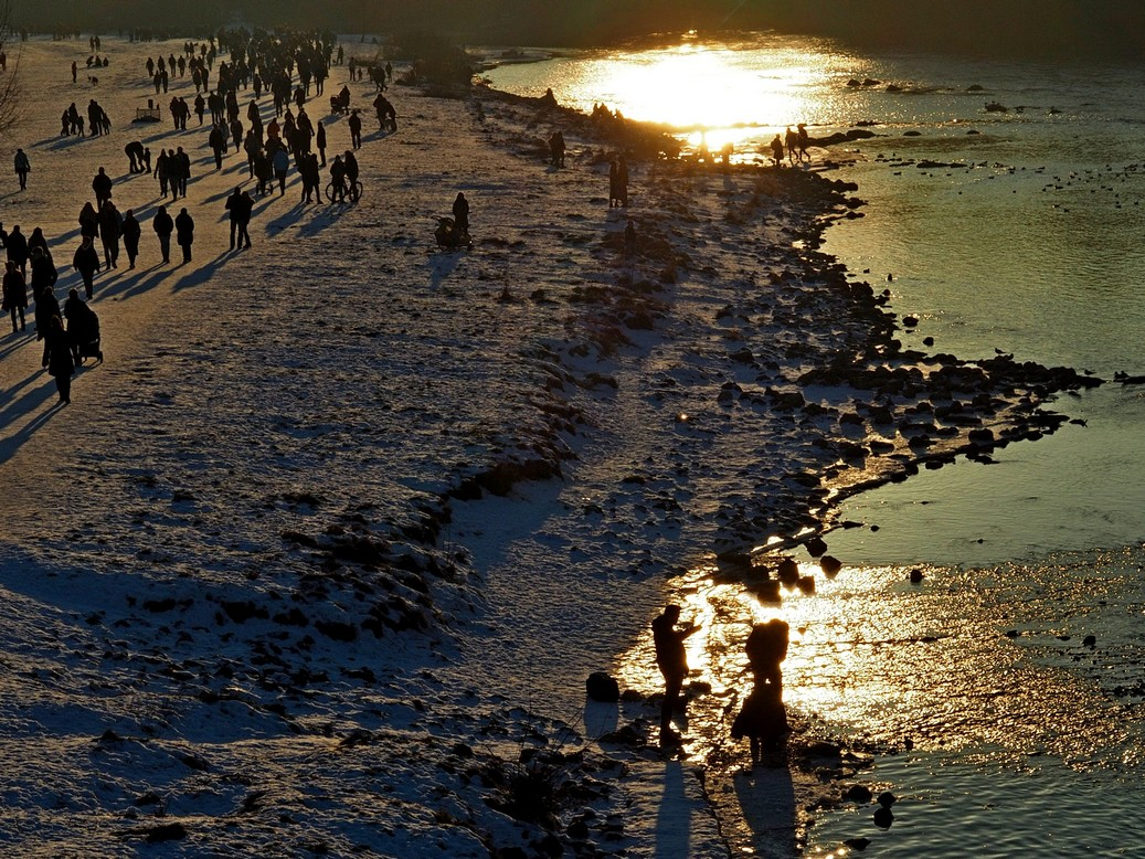 Isar München Sonnenuntergang