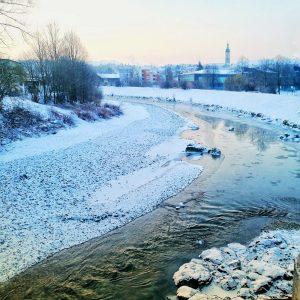 Fluss Traun in Traunstein
