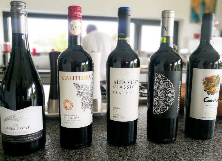 Fünf Rotweine aus Südamerika